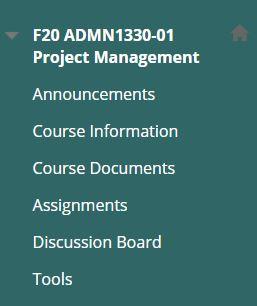 Screenshot of Blackboard Course Menu