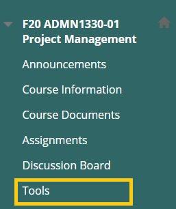 Screenshot of Tools location from Blackboard Menu