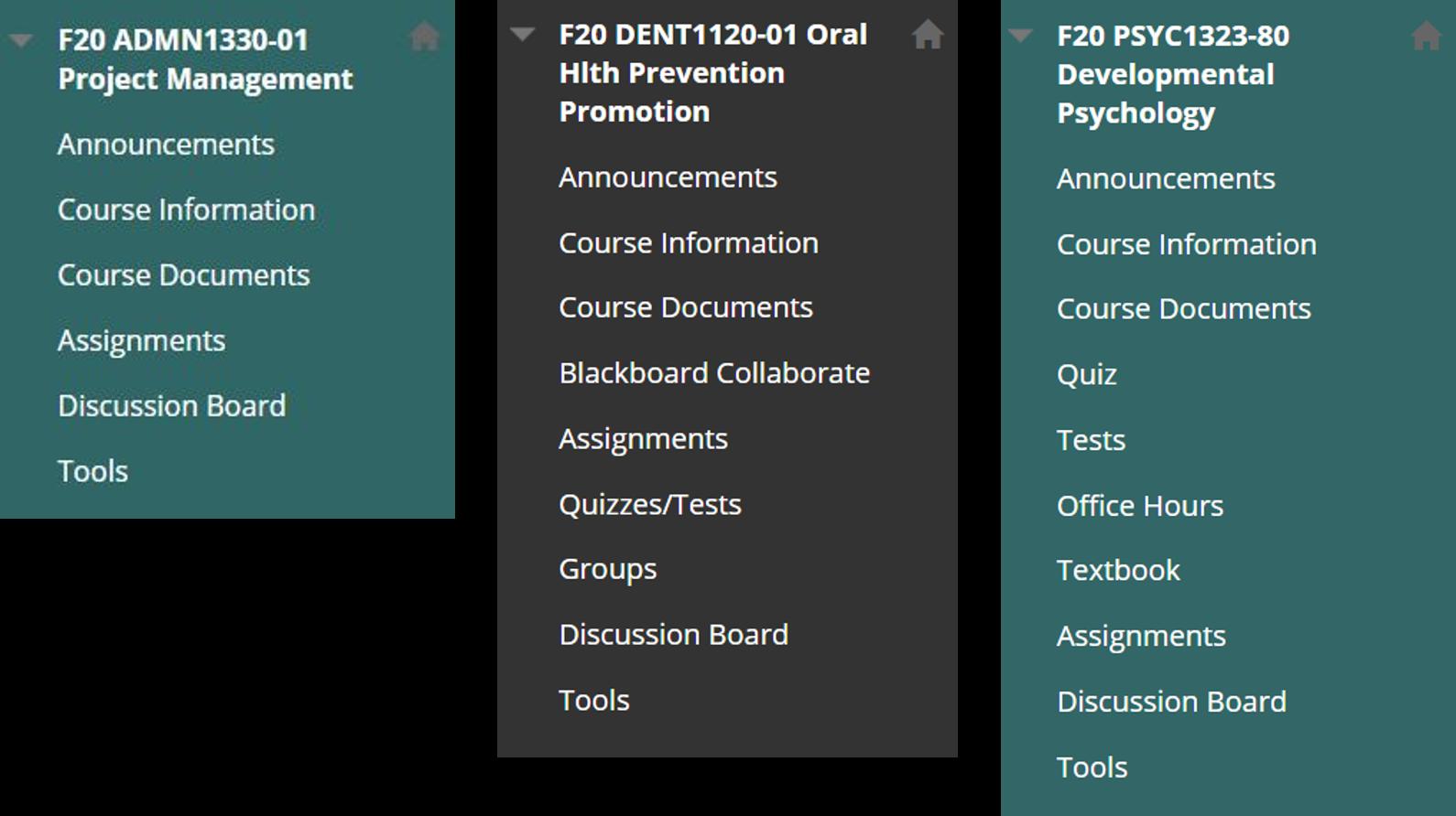 Screenshot of three different Blackboard Course Menu