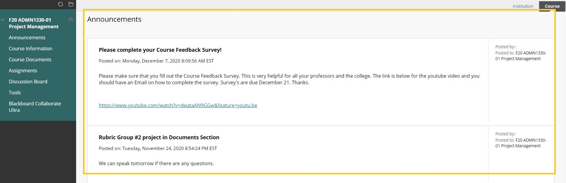 Screenshot of Blackboard Course Announcements page