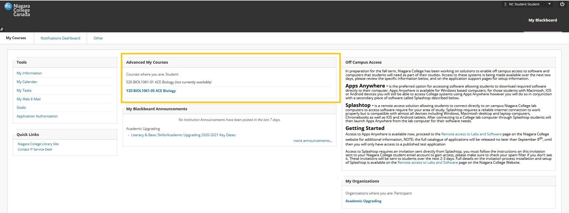 Screenshot of Blackboard Advanced My Courses landing page