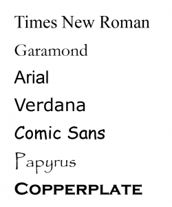A list of font styles including: Arial, Garamond, Times New Roman, Verdana and Comic Sans
