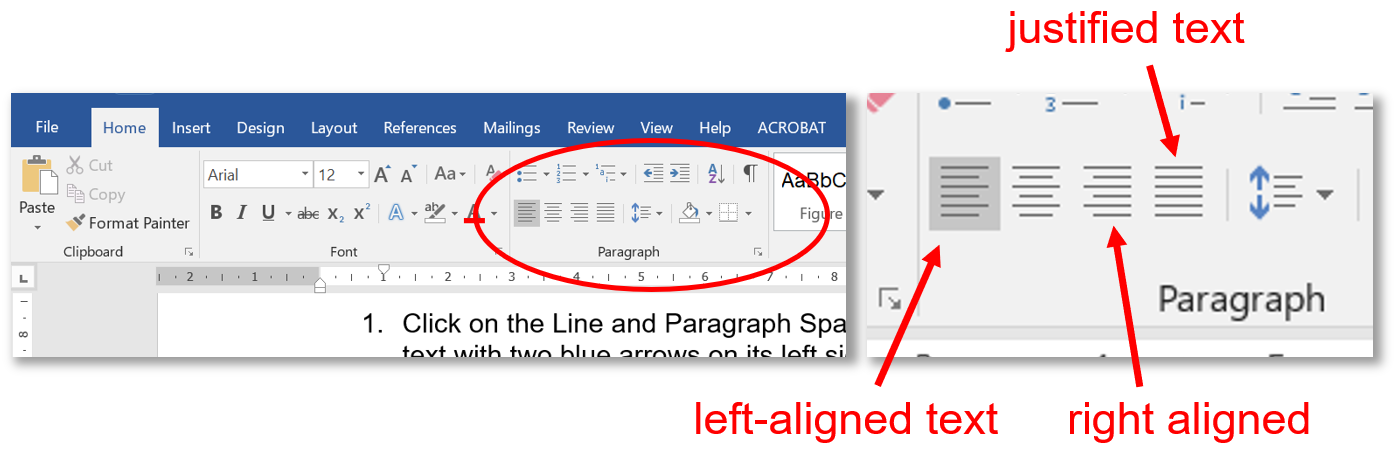 Screenshot of Microsoft Word tool bar showing justification icons