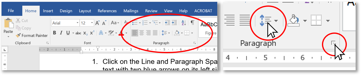 Screen shot of Microsoft Office Toolbar showing where line spacing can be found