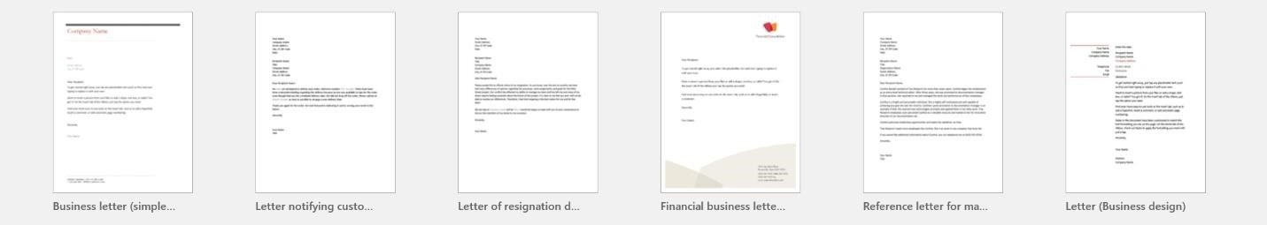 A preview of multiple Microsoft Word Letter templates