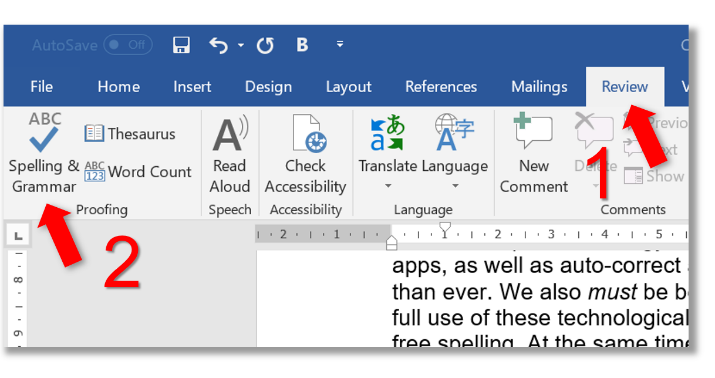Screenshot of Microsoft Word showing how to spell check a document