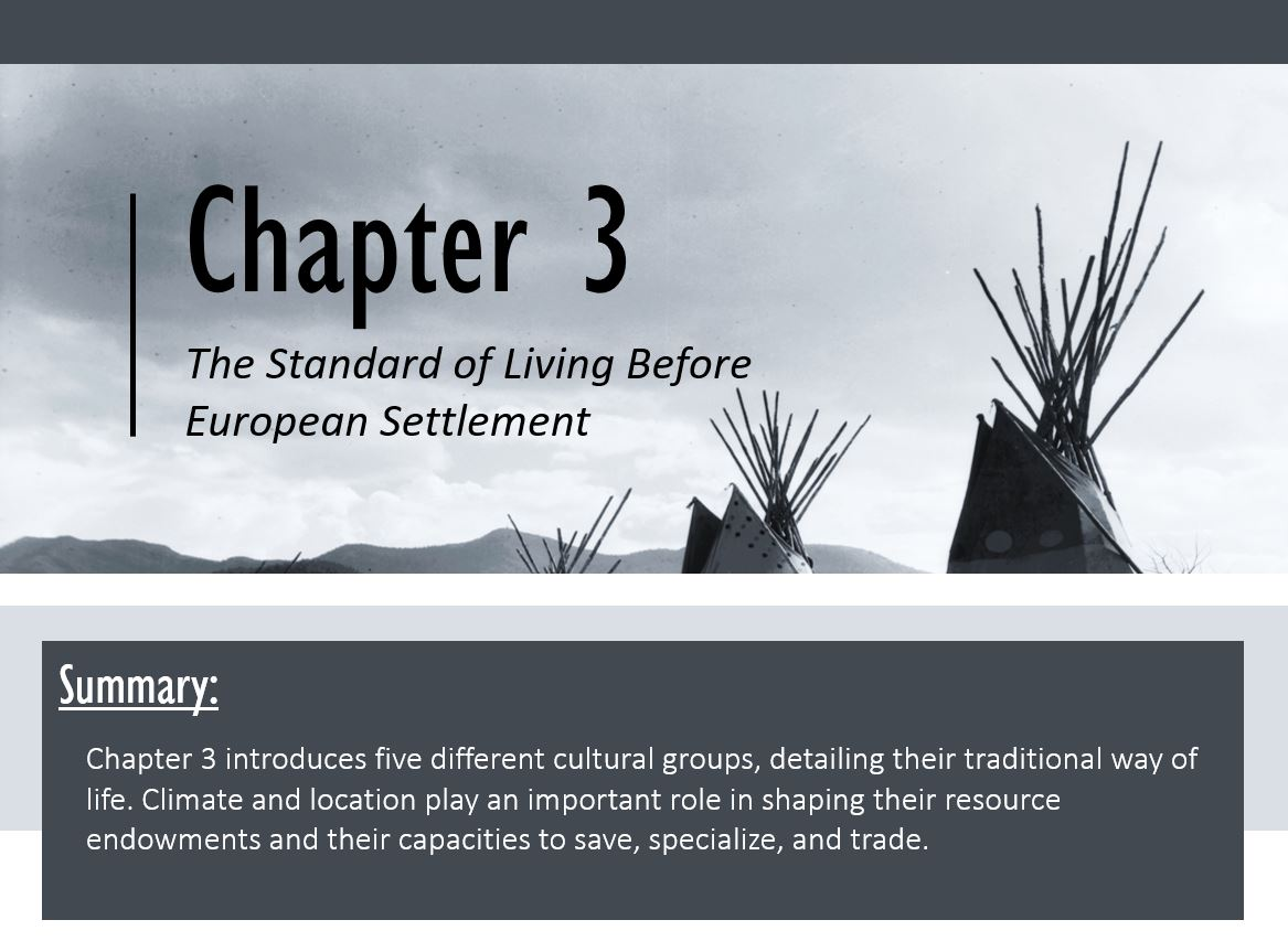(From the Top) Chapter 3 The Standard of Living Before European Settlement (Teepee tops against the sky background); (below) Summary: Chapter 3 introduces five different cultural groups, detailing their traditional way of life. Climate and location play an important role in shaping their resource endowments and their capacities to save, specialize, and trade.