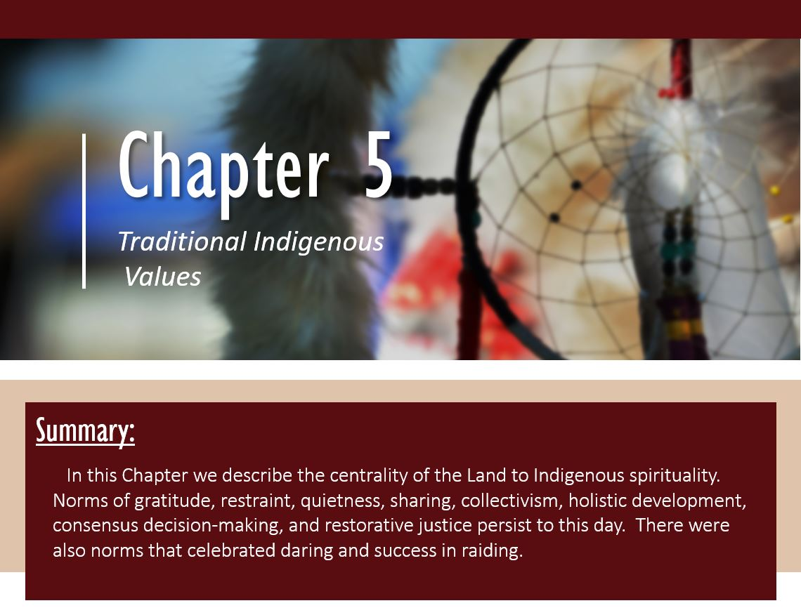 Summary: In this Chapter we describe the centrality of the Land to Indigenous spirituality. Norms of gratitude, restraint, quietness, sharing, collectivism, holistic development, consensus decision-making, and restorative justice persist to this day. There were also norms that celebrated daring and success in raiding.