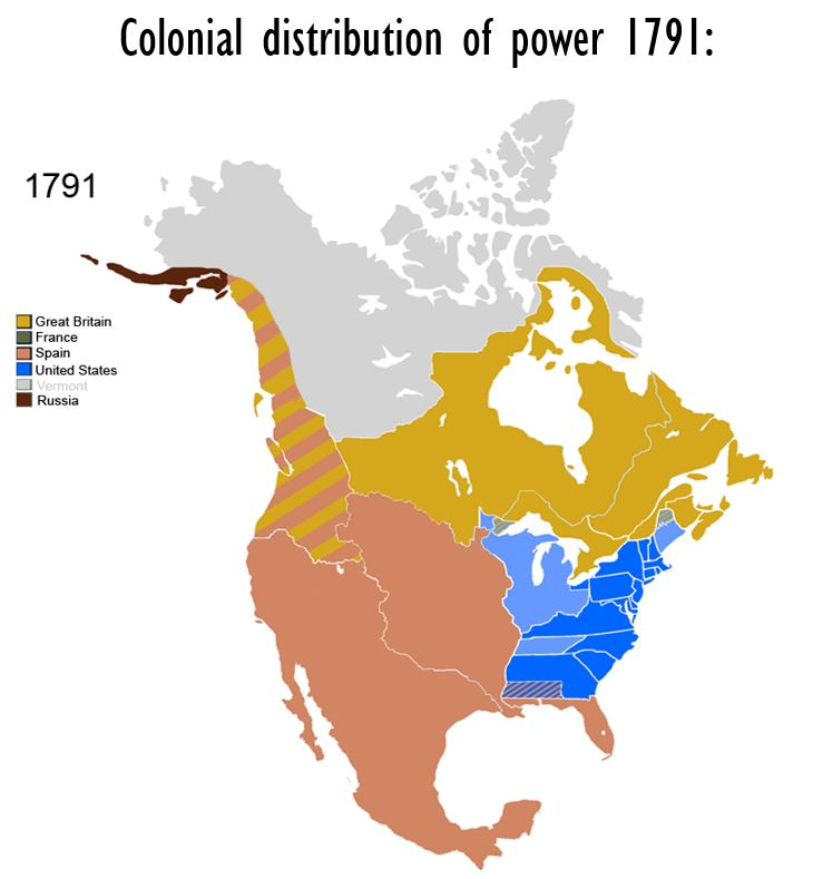 Colonial distribution of power in 1791. Credits to: Esemono Maps, 2009