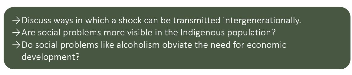Discuss ways in which a shock can be transmitted intergenerationally. Are social problems more visible in the Indigenous population? Do social problems like alcoholism obviate the need for economic development?