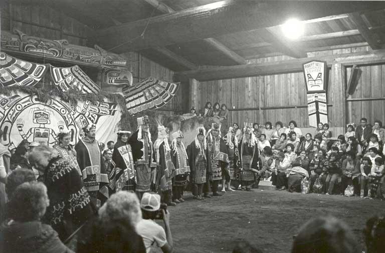 Peace dance at Kwaxalanukwame' 'Namugwis, Chief William T. Cranmer's potlatch, 1983. Photo by: Vickie Jensen, UPN-01458 [27]
