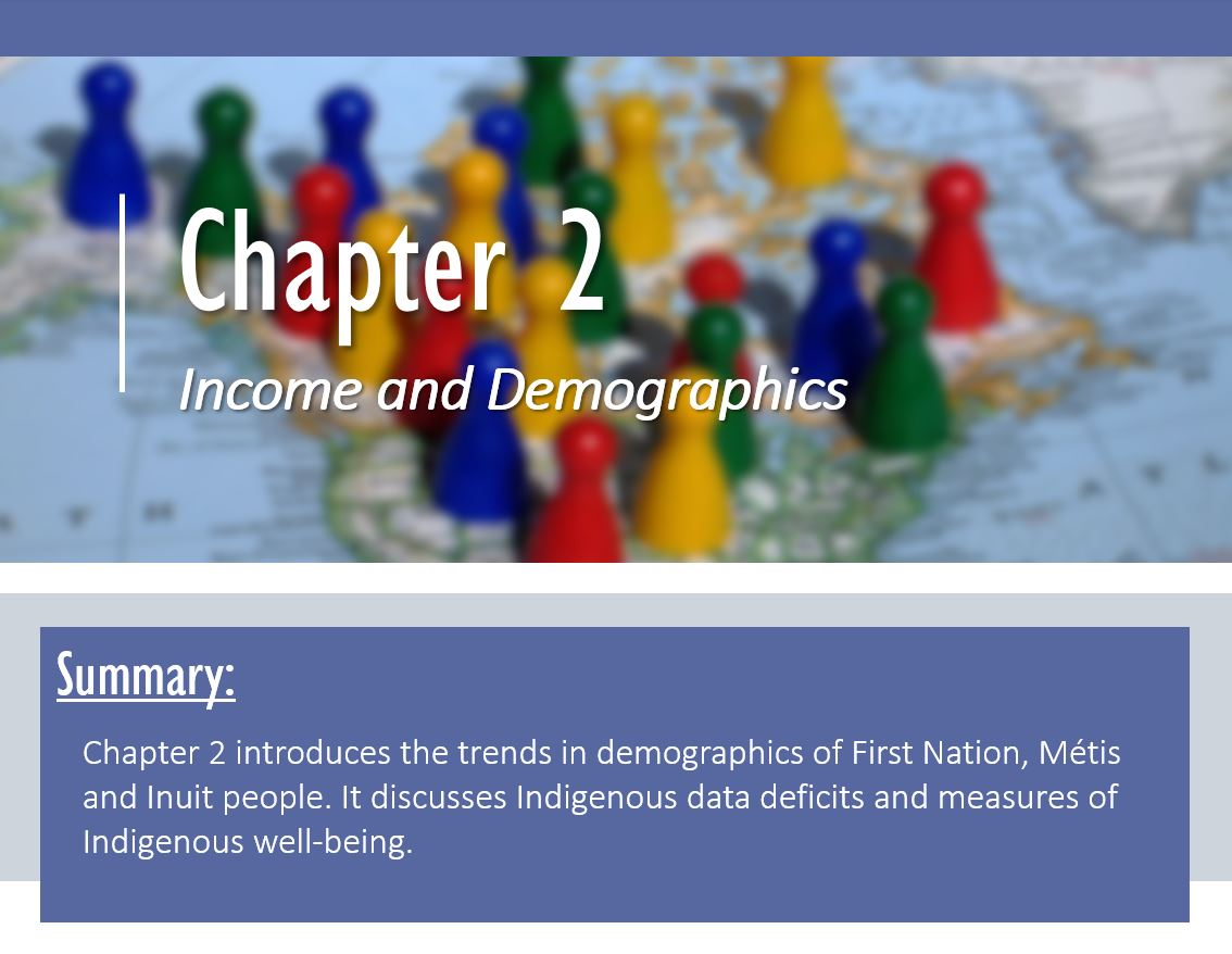 (From the top) Chapter 2: income and demographics; background of chess pieces on a map. (below) Summary: Chapter 2 introduces the trends in demographics of First Nation, Métis and Inuit people. It discusses Indigenous data deficits and measures of Indigenous well-being.