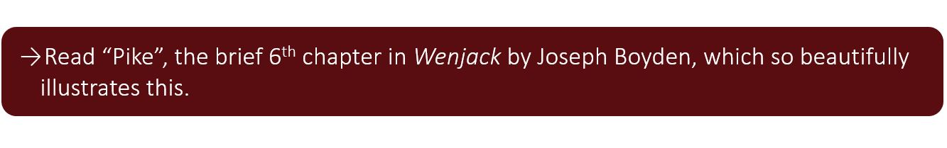 """Read """"Pike"""", the brief 6th chapter in Wenjack by Joseph Boyden, which so beautifully illustrates this."""