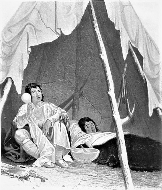 Engraving showing a Native American medicine man caring for an ill Native American 1857. Credits to: Captain Samual Eastman/National Library of Medicine