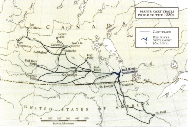Major Transportation Trails used by the Métis before 1880s. Source: Canadian Geographic Atlas of Indigenous Peoples, Métis volume, 2018