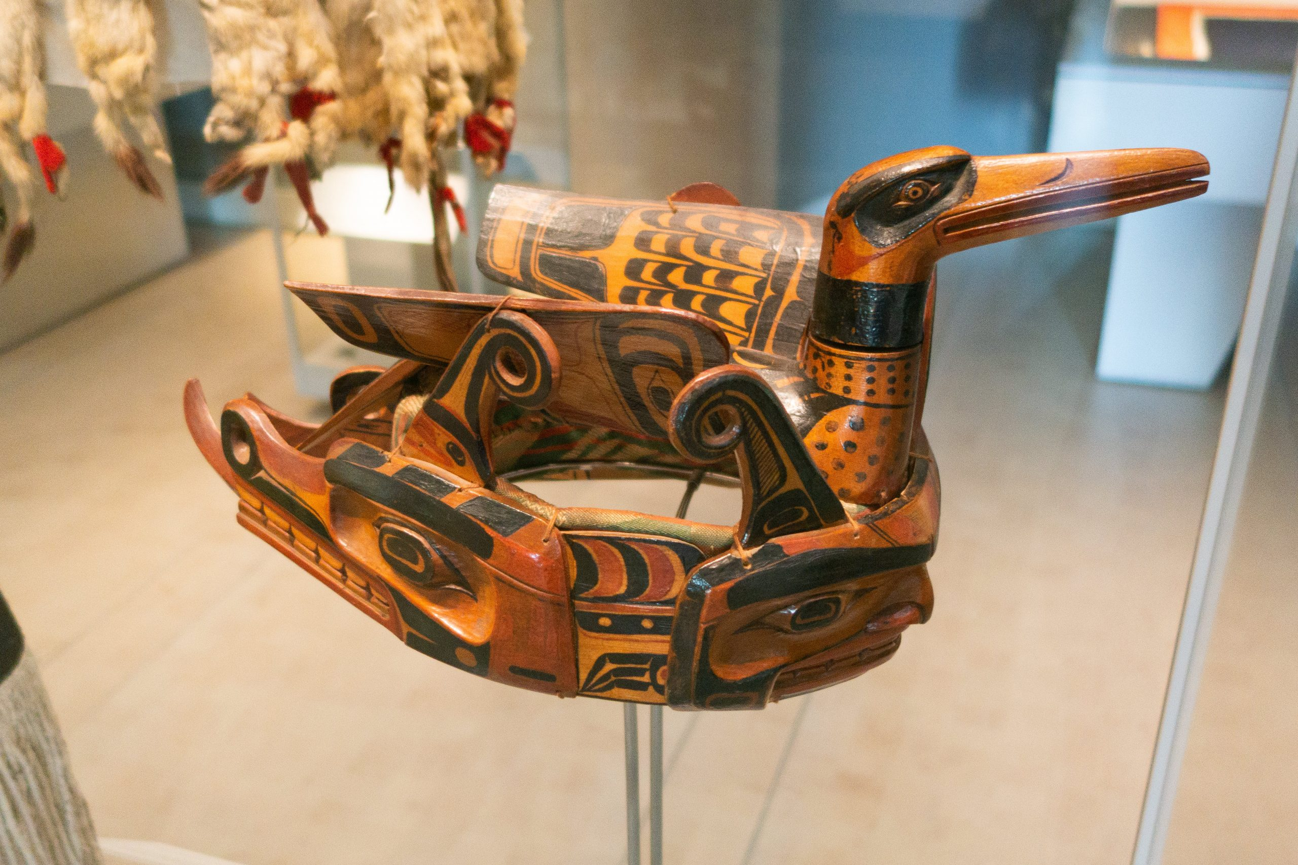 Loon Crown. In Indigenous culture, the Loon is a symbol of peace, tranquility. The crown would have been worn by a Haida Nation Chief in Potlatch. Photo by: Thomas Quine.