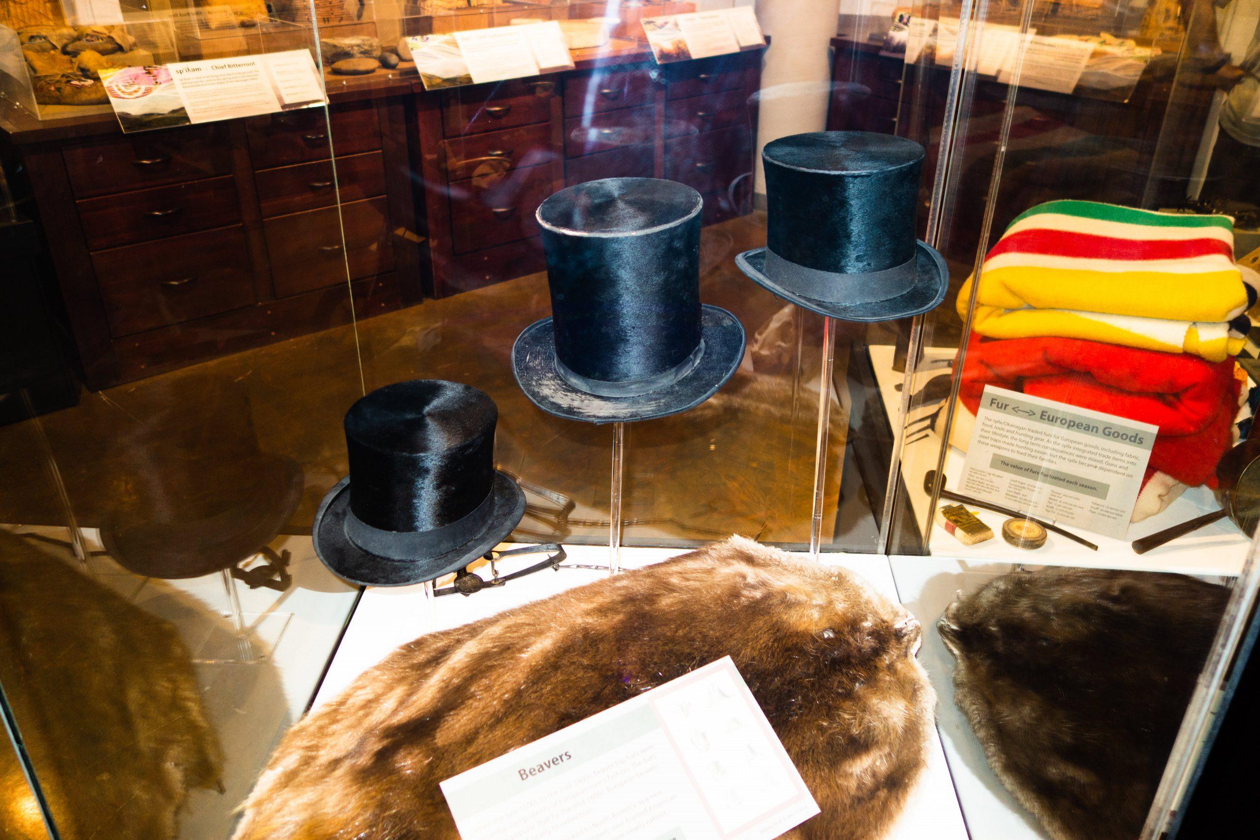 Antique Beaver Top Hats, made in the late 1830's. Kelowna Heritage Museum, Kelowna, British Columbia.