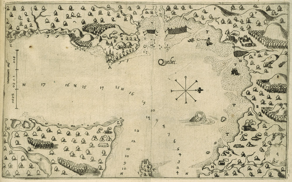 Map of Quebec City, drawn by Samuel de Champlain in 1608 (old map)