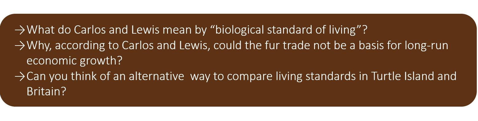 """What do Carlos and Lewis mean by """"biological standard of living""""? Why, according to Carlos and Lewis, could the fur trade not be a basis for long-run economic growth? Can you think of an alternative way to compare living standards in Turtle Island and Britain?"""