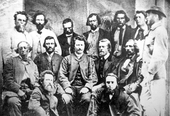 Louis Riel with members of his council in 1870. Photo by: William James Topley, Topley Studio. Credits to: Library and Archives Canada