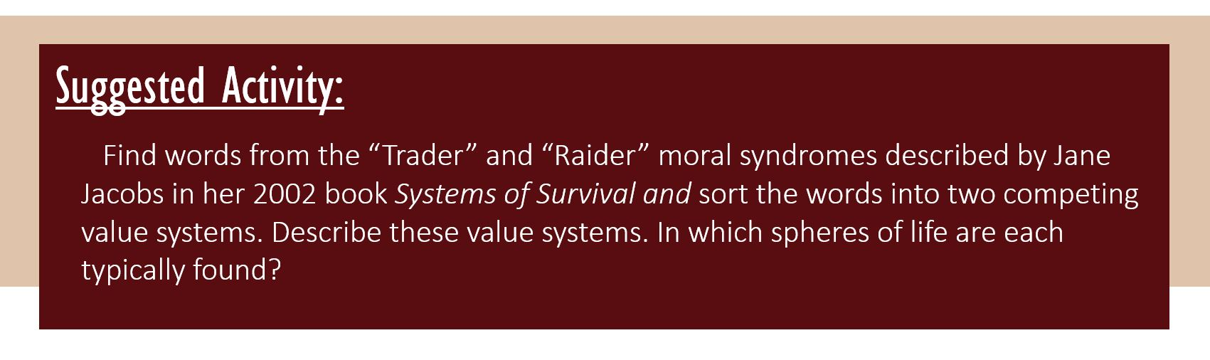 """Suggested Activity: Find words from the """"Trader"""" and """"Raider"""" moral syndromes described by Jane Jacobs in her 2002 book Systems of Survival and sort the words into two competing value systems.Describe these value systems.In which spheres of life are each typically found?"""