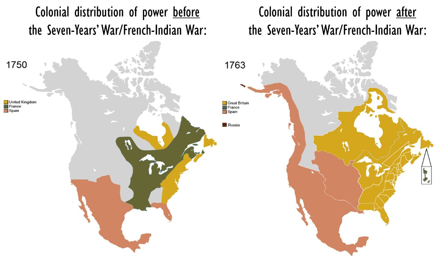 Colonial distribution of Power Before 7 After the Seven-Year's War/ French-Indian War. Credits to: Esemono Maps, 2009