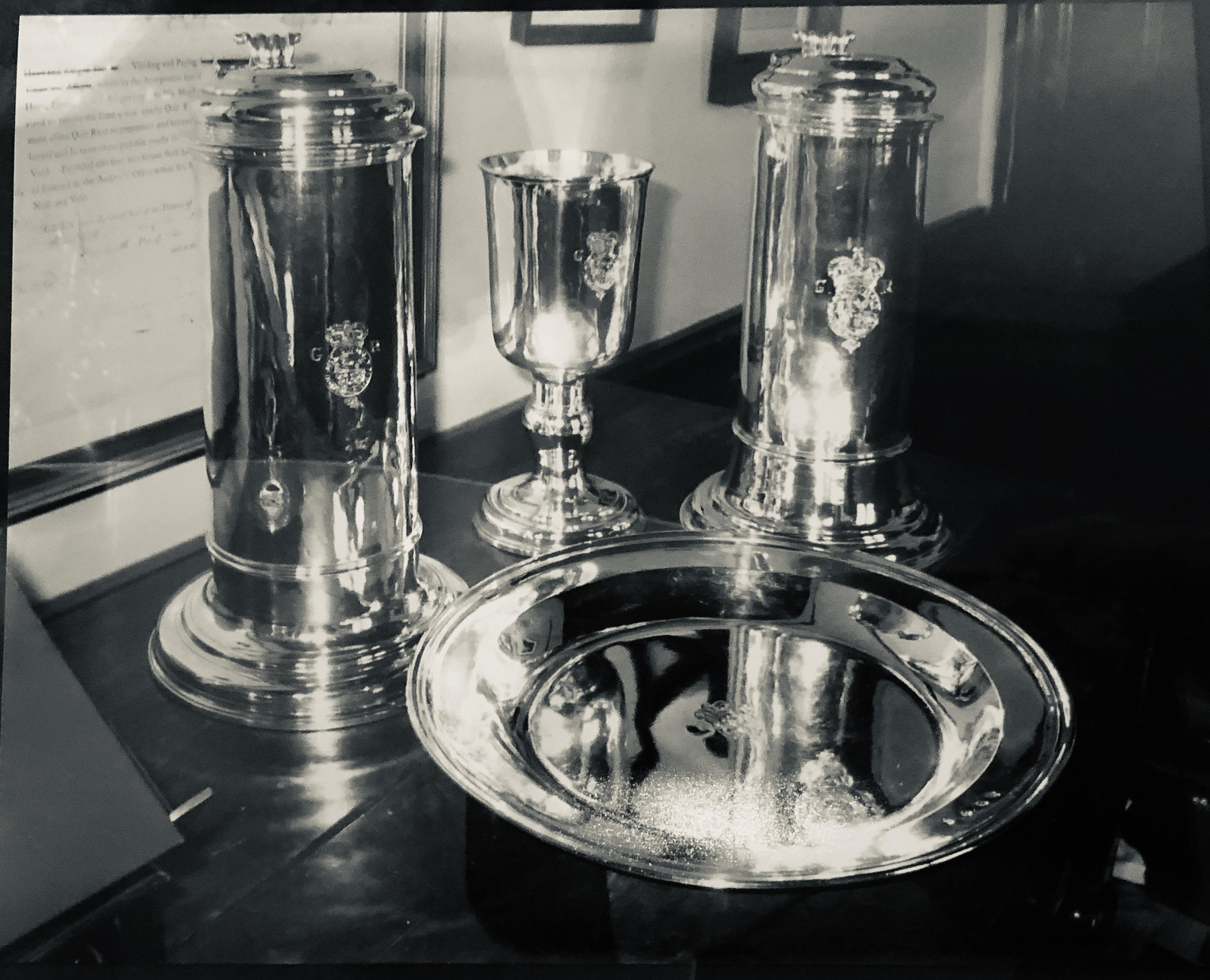 Another Queen Anne silver communion service, St. Paul's Church, Halifax, Nova Scotia. Photo by: Francis Garthone. Credits to: Hantsheroes