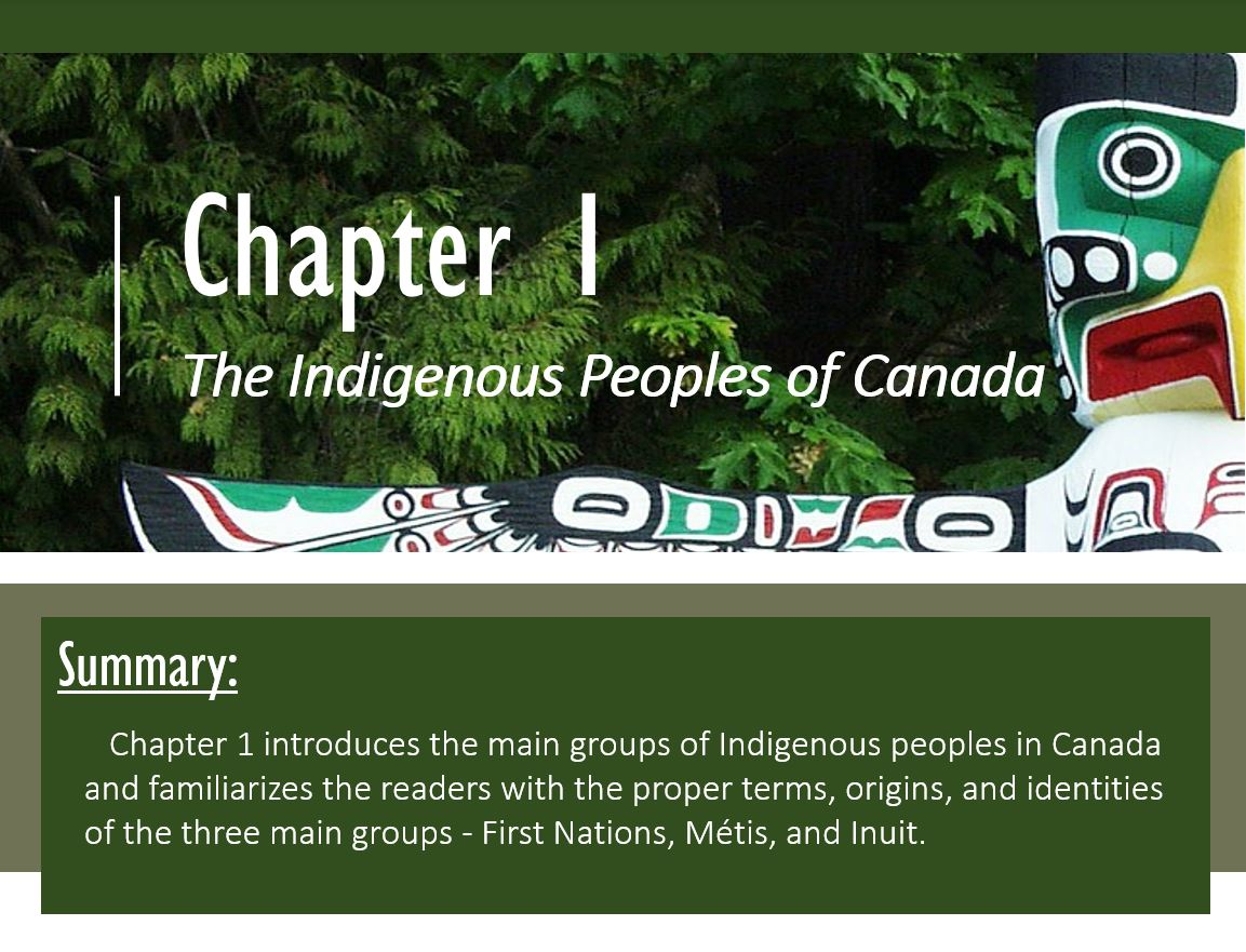 (from the top) Chapter 1: Indigenous Peoples of Canada on a background depicting a totem pole with spread wings. (below) Summary: Chapter 1 introduces the main groups of Indigenous peoples in Canada and familiarizes the readers with the proper terms, origins, and identities of the three main groups - First Nations, Métis, and Inuit.