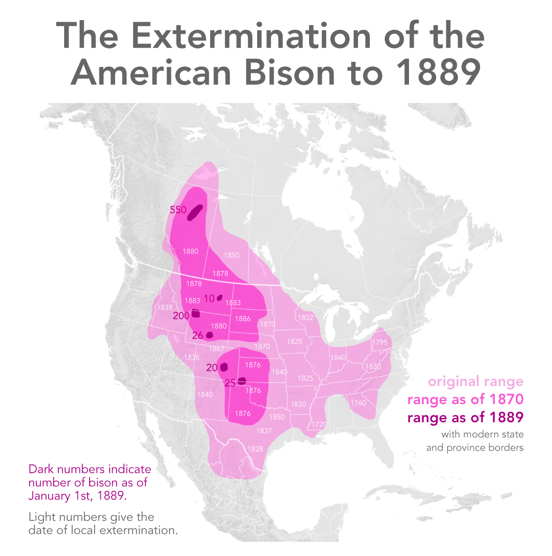 """Based on """"Map Illustrating the Extermination of the American Bison"""" by W. T. Hornaday, available at Library of Congress, Geography and Map Division. (CC BY-SA 3.0) [72]"""