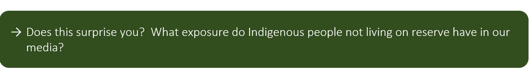 Does this surprise you? What exposure do Indigenous people not living on reserve have in our media?
