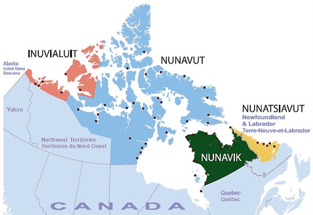 Map of Inuit Nunangat (including Inuvialuit, Nunavut, and Nunatsiavut). Map Credits to: Statistics Canada , 2015