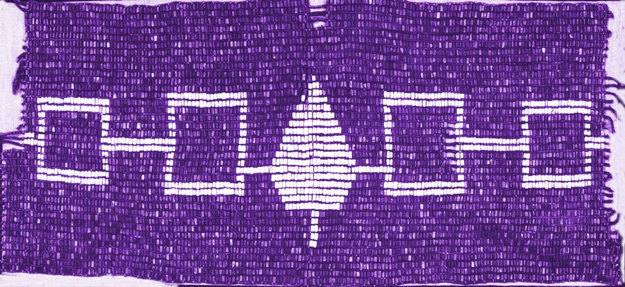 This wampum belt, known as the Hiawatha belt, represents the coming together of the Seneca, Cayuga, Onondaga, Oneida and Kanien'kehá:ka (Mohawk) to form the Haudenosaunee.The first example, no longer surviving, would have been made at the time of this treaty, perhaps 1450 AD. Photo credit: CUPE Ontario [21]