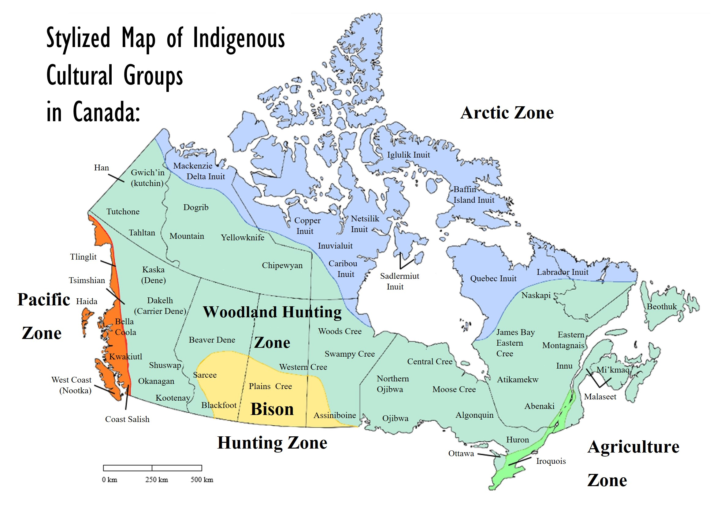"""Stylized Map of Indigenous Cultural Groups in Canada. Created for the Open Text """"Economic Aspect of the Indigenous Experience in Canada"""" by Dr. Anya Hageman 2020 . Map graphic by: Pauline Galoustian. [19]"""