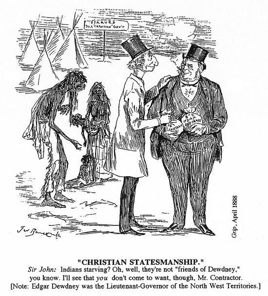 """""""Christian Statesmanship."""" Artist: John Wilson Bengough. Source: The Grip. Credits to: Sir John A. Macdonald Library (April 1888)"""