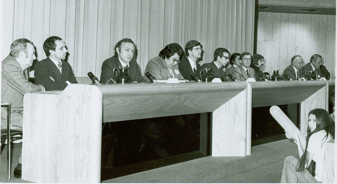 Signing of the James Bay Agreement: (l. to r.) Roland Giroux, Jean Cournoyer, John Ciaccia, Billy Diamond, Judd Buchanan, Premier Bourassa, Gérard D. Levesque, Charlie Watt, Robert A. Boyd, Charles Boulva. Credits to: Canada. Dept. of Indian Affairs and Northern Dev. / Library and Archives Canada / PA-143013. MIKAN No. 3202097