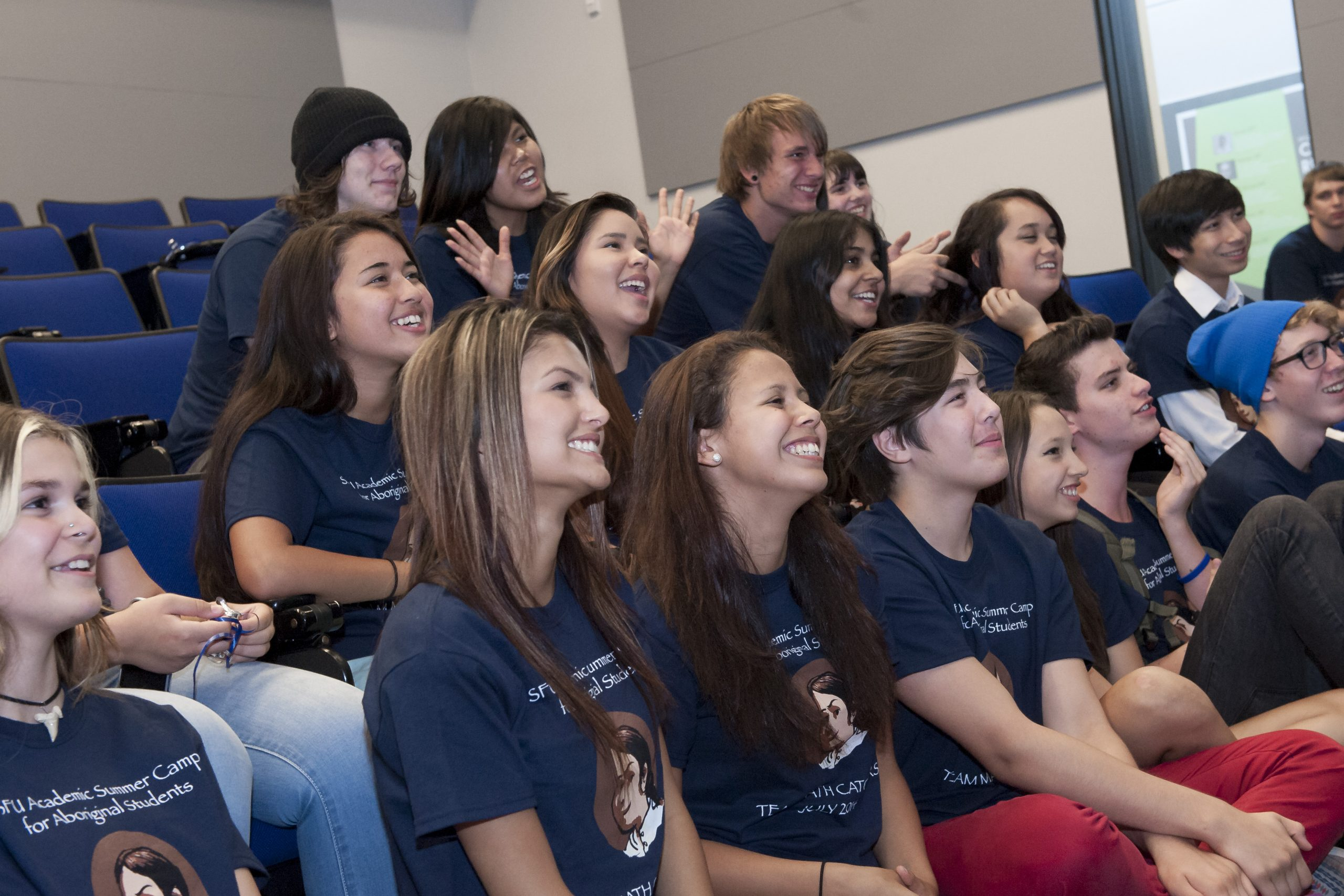 Grade 11 and 12 Indigenous students from First Nations communities and schools in the annual Aboriginal Students in Math and Science Workshop, 2014. Credits to: Simon Fraser University