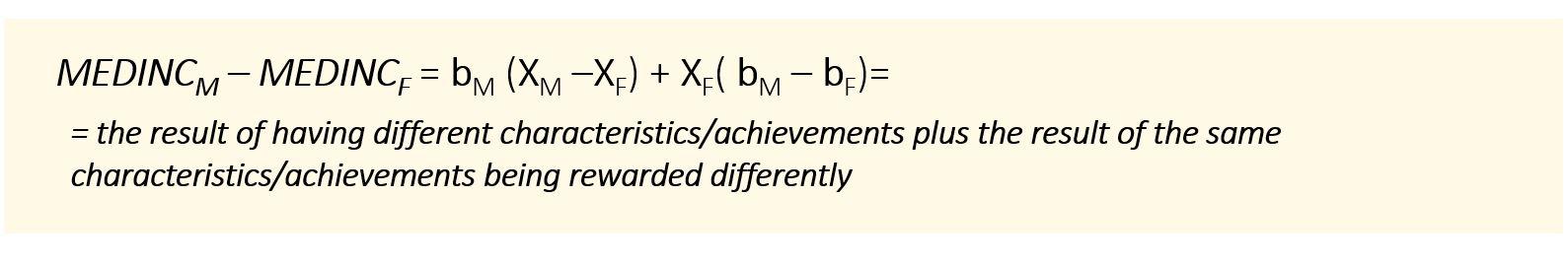 MEDINCM – MEDINCF = bM (XM –XF) + XF( bM – bF)= = the result of having different characteristics/achievements plus the result of the same characteristics/achievements being rewarded differently