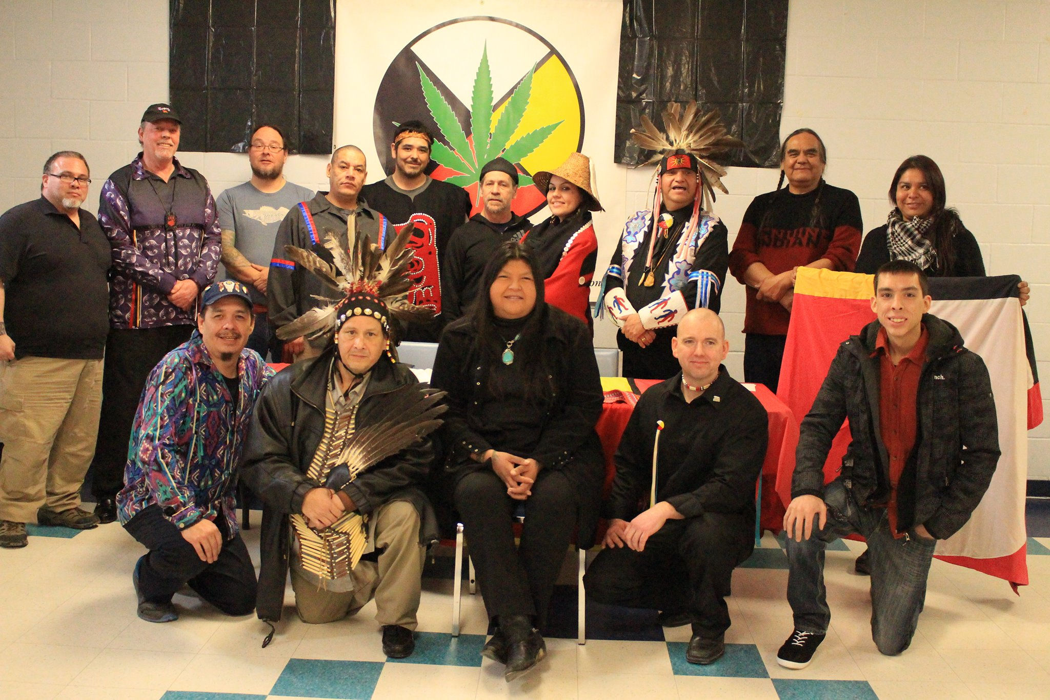A number of Kanien'kehá:ka (Mohawk) representatives elected to the inaugural board of the National Indigenous Medical Cannabis Association, 2017. Photo credits to and with permission from: Clifton Nicholas