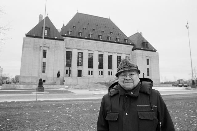 Dr. Frank Calder, Nisga'a President Emeritus, after whom the famous Calder Case is named, outside the Supreme Court of Canada, 1999. Photo by: Gary Fiegehen. Photo and Text Credits to: Nisga'a Lisims Government.