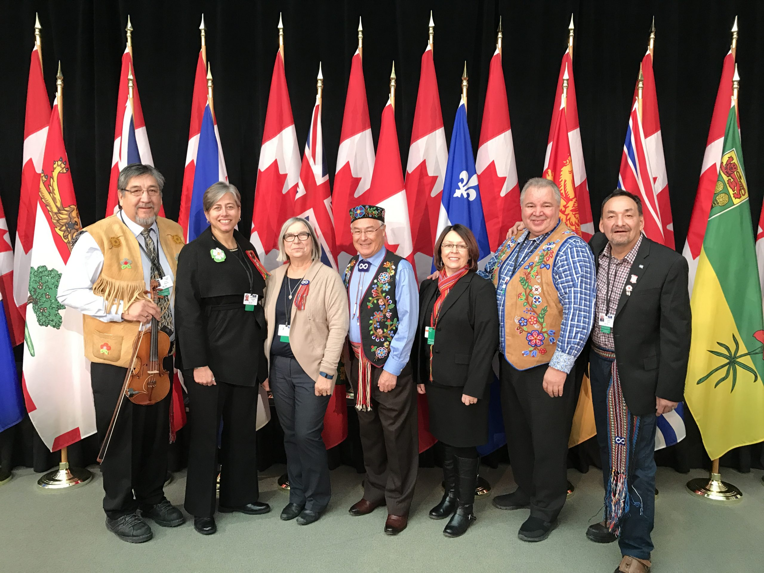 Métis Nation delegates at the meeting between Indigenous leaders and Canadian First Ministers 2016 (left to right) Métis elder Oliver Boulette, MNO President Margaret Froh, MNA President Audrey Poitras, MNC President Clément Chartier, MNBC President Clara Morin Dal Col, MMF President David Chartrand and MN-S Vice-President Gerald Morin. Photo and Text credits to: Métis Nation of Ontario.