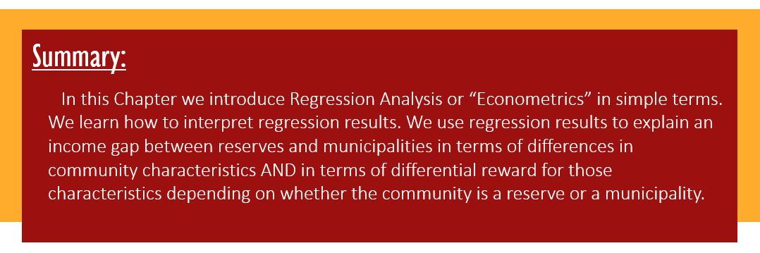 """Summary: In this Chapter we introduce Regression Analysis or """"Econometrics"""" in simple terms. We learn how to interpret regression results. We use regression results to explain an income gap between reserves and municipalities in terms of differences in community characteristics AND in terms of differential reward for those characteristics depending on whether the community is a reserve or a municipality."""