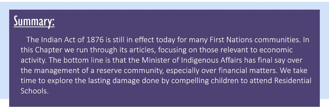 Summary: The Indian Act of 1876 is still in effect today for many First Nations communities. In this Chapter we run through its articles, focusing on those relevant to economic activity. The bottom line is that the Minister of Indigenous Affairs has final say over the management of a reserve community, especially over financial matters. We take time to explore the lasting damage done by compelling children to attend Residential Schools.