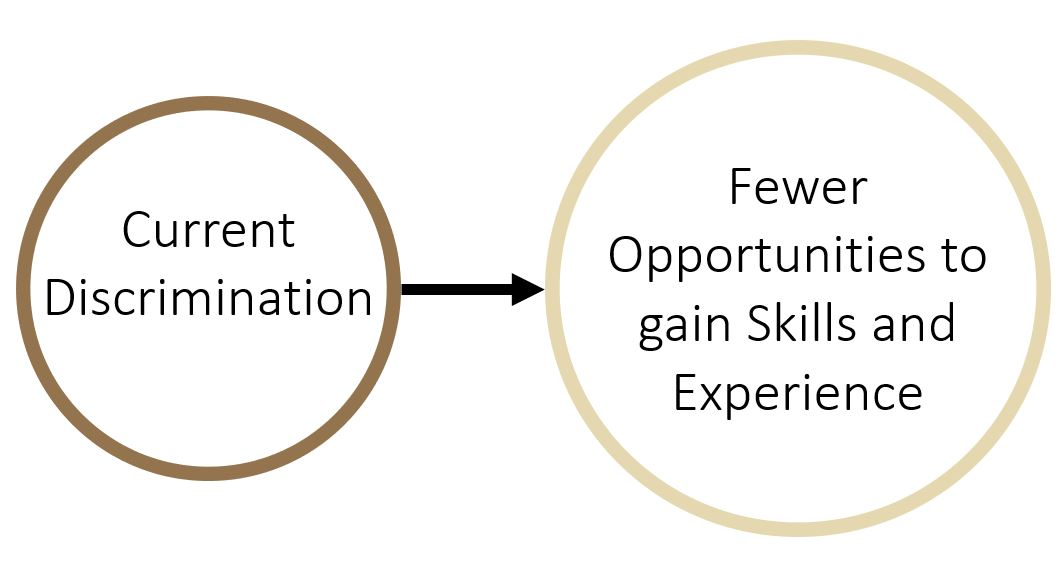 Current Discrimination transitions into Fewer Opportunities to gain Skills and Experience