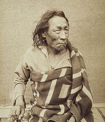 Mistahi Maskwa (Big Bear)ca. 1825-1888, the Plains Cree chief during his time in prison. Photo by: O.B. Buell. Credits to: Library and Archives Canada/ C-001873 MIKAN No. 3192597