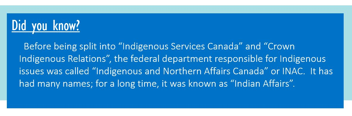 """Did you know? Before being split into """"Indigenous Services Canada"""" and """"Crown Indigenous Relations"""", the federal department responsible for Indigenous issues was called """"Indigenous and Northern Affairs Canada"""" or INAC. It has had many names; for a long time it was known as """"Indian Affairs""""."""
