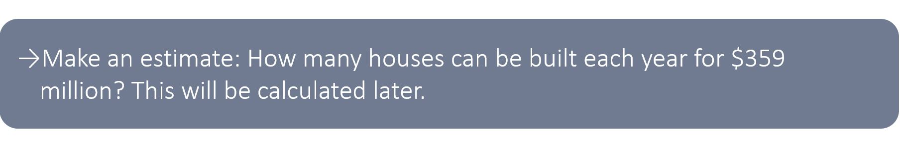 Make an estimate: How many houses can be built each year for $359 million?This will be calculated later on.