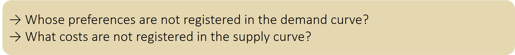 Whose preferences are not registered in the demand curve? What costs are not registered in the supply curve?