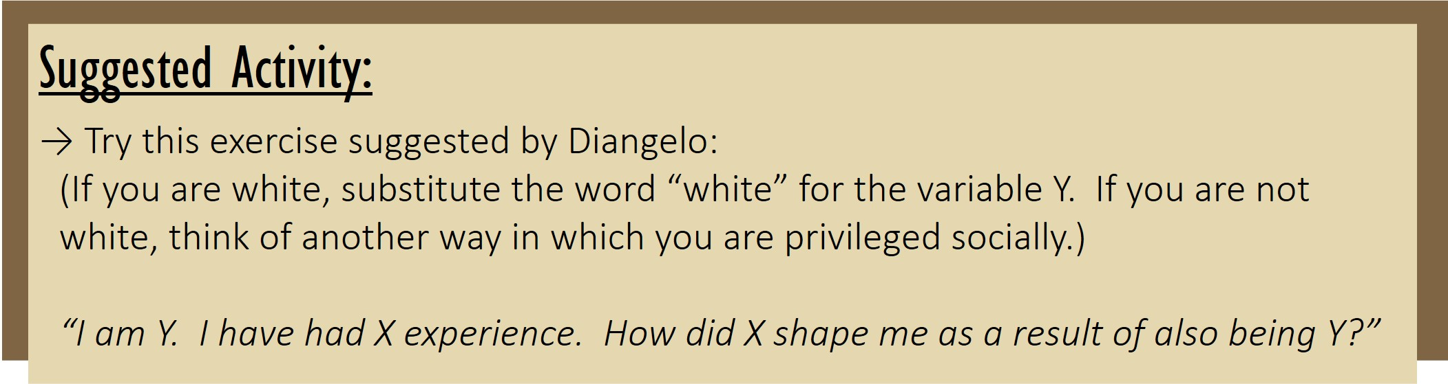 """Suggested Activity: Try this exercise suggested by Diangelo: (If you are white, substitute the word """"white"""" for the variable Y. If you are not white, think of another way in which you are privileged socially.) """"I am Y. I have had X experience. How did X shape me as a result of also being Y?"""""""