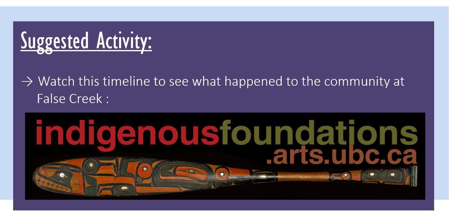 Suggested Activity: Watch this timeline to see what happened to the community at False Creek