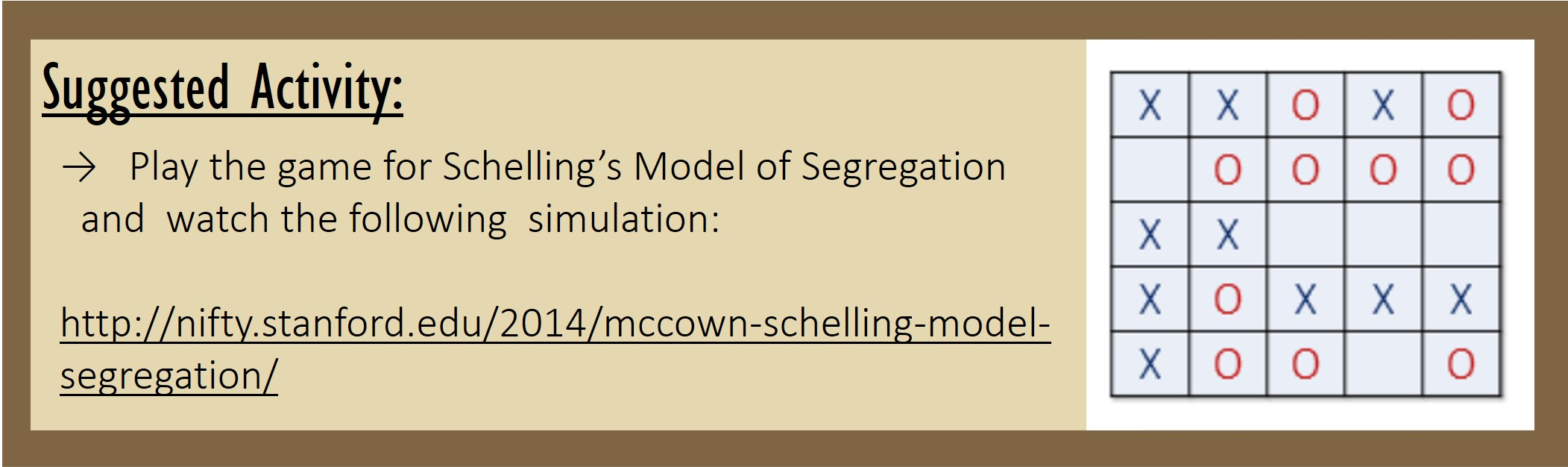 Suggested Activity: Play the game for Schelling's Model of Segregation and watch the following simulation: http://nifty.stanford.edu/2014/mccown-schelling-model-segregation/